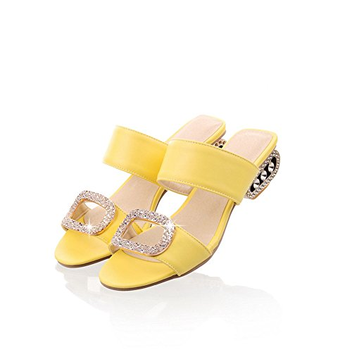 Sandals Yellow Dress (Btrada Women's Fashion Slides Heeled Sandals Sexy Open Toe Slip On Low-Heel Summer Casual Dress Shoes)