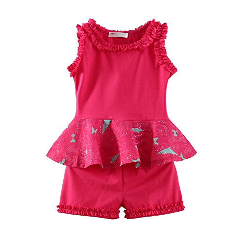 LittleSpring Toddler Girls Summer Clothing Set Flared Sundress and Shorts Outfit Green Size ()