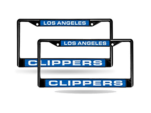Rico Los Angeles LA Clippers NBA Black Metal (2) Laser License Plate Frame ()