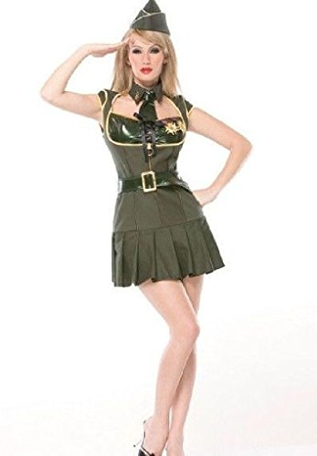 [Ponce Sexy Army Costume Pin Up Military Soldier Officer Green Dress] (Pin Up Halloween Costumes)