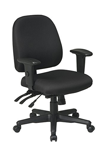 Office Star Multi Function Ergonomic Chair with Ratchet Back and Adjustable Soft Padded Arms, Black by Office Star