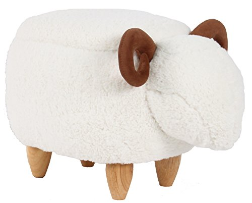 Haosoon Animal ottoman Series Storage Ottoman Footrest Stool with Vivid Adorable Animal-Like Features (White Sheep) (STORAGE) (Small Wooden Ottoman)