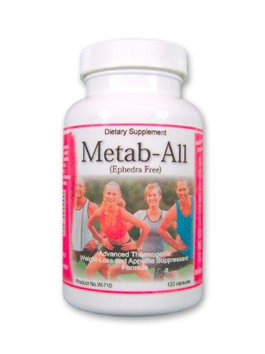 Metab-All Guarana (sans éphédra) Amazing métabolisme Fat Burner Stimuler supplément de perte de poids avec Ginko Biloba, Cayenne, et les sels cellulaires homéopathiques 120ct