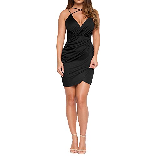 YS.DAMAI Women's V Neck Front Cross Sexy Halter Dress Bodycon Bandage Cocktail Party Dress