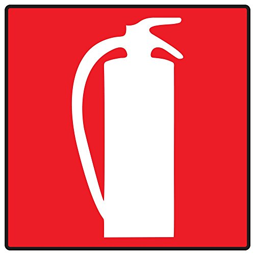 ComplianceSigns Vinyl Fire Extinguisher Symbol Label, 6 x 6 in. with Symbol Only, Red