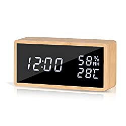 GEERTOP Digital Alarm Clock for Bedrooms LED Display Desk Clock Bamboo Wood - Time Temperature Humidity, Adjustable Brightness, Sound Control, USB/Battery Powered