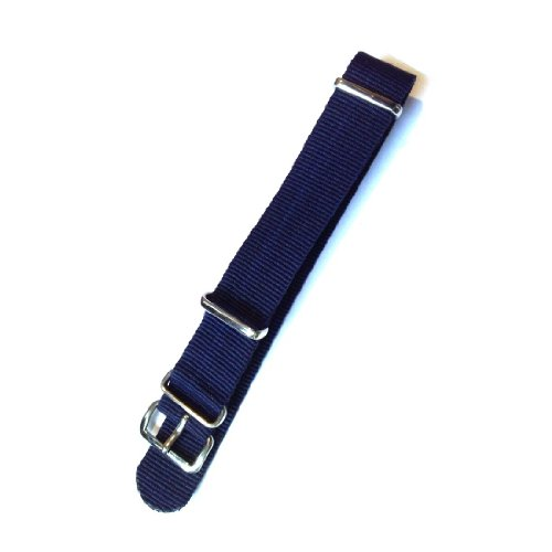 20mm Dark Blue Nato Style Ballistic Nylon Watch Strap / Band