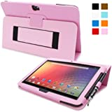 Snugg™ Nexus 10 Case - Smart Cover with Flip Stand & Lifetime Guarantee (Candy Pink Leather) for Nexus 10