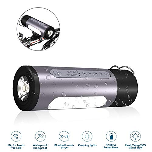 Bluetooth Speaker,SILIFUN Bluetooth Bicycle Wireless Speaker Power Bank IPX5 Waterproof Dustproof Shockproof Speaker with Camp LED Flashlight,Built-in Mic,TF Card for Camping/Beach/Sports(Gray) by SILIFUN