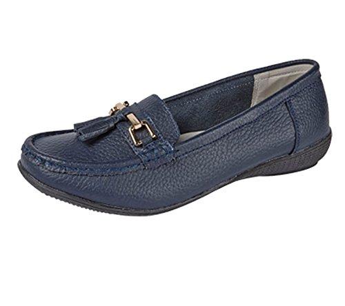 katt_brand Ladies Leather Loafer Plimsole Pumps Womens Tassel Flat Shoes Navy nah2D