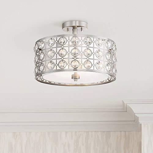 (Saira Modern Ceiling Light Semi Flush Mount Fixture Brushed Nickel 16