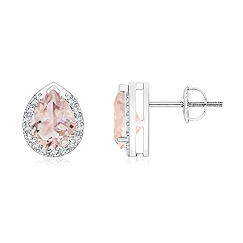 Diamond Halo Pear Shaped Morganite Stud Earrings in Platinum (7x5mm Morganite)