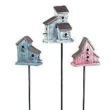 Georgetown Home & Garden Miniature Birdhouse Stake Garden Decor, Red/White/Blue, Set of 3