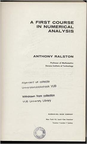 Descarga gratuita de libros pda. A First Course in Numerical Analysis (Literatura española) PDF RTF 0070511578