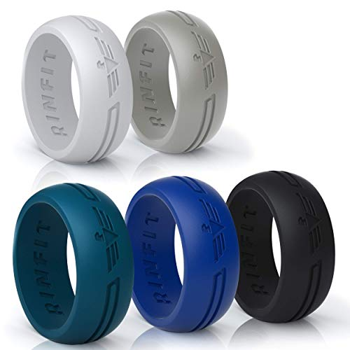 (Rinfit Silicone Wedding Rings for Men by 5 Rings Set - Black, Atlantic Blue, Light Gray Men's Wedding Bands -Designed Medical Grade Rubber - Comes with a Gift Box (12, Power Collection) )