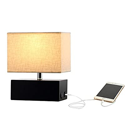 Wooden Table Lamp, 5V/2A USB Charging Port, On-Off Rocker Switch, Black Rectangle Wooden Base, Cream Fabric Shade