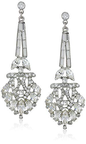 Ben Amun Dangling Earrings - Ben-Amun Jewelry Women's Pearl & Crystal Post Drop Earrings for Bridal Wedding Anniversary, Silver, 3