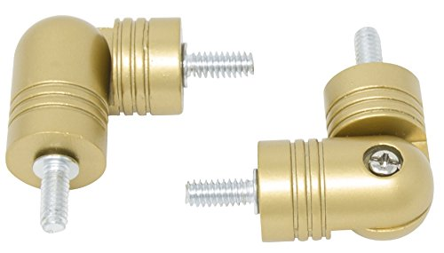 MERIVILLE Hinged Elbow Connector - Designed for Bay Window Curtain Rods or Corner Drapery Rods up to 1-inch Diameter, Royal Gold, Set of 2
