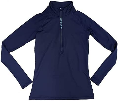 Prisionero Paciencia sitio  Nike Pro Women's Hyperwarm Half Zip Pullover Navy Blue AR4732 429 (s):  Clothing - Amazon.com