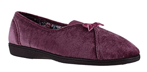 Pink Freestep Maisie Textile Slippers Touch On Womens Fastening Slip SqwrP8xS