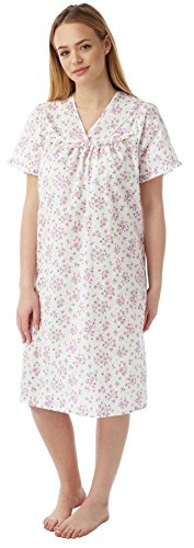 - Lady olga Ladies Incontinence Open Back Poly Cotton Floral Nightdresses Pink 12-14