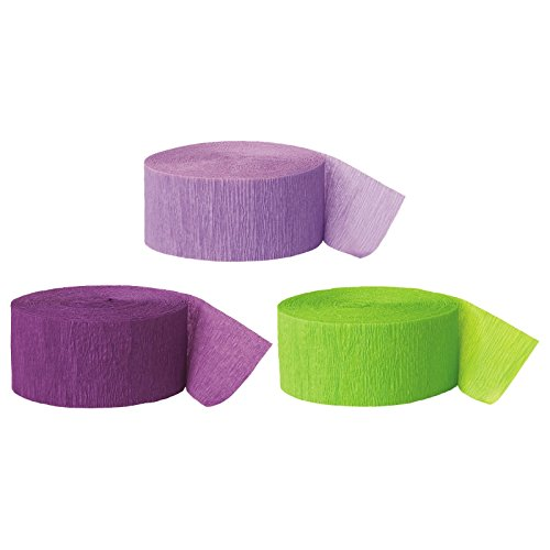 Andaz Press Crepe Paper Streamer Hanging Party Decorations Kit, 240-Feet, Lavender, Royal Purple, Kiwi Green, 1-Pack, 3-Rolls, Mermaid Colored Wedding Baby Bridal Shower Birthday Supplies, (Tinker Bell Birthday Party)