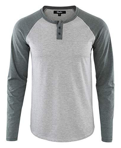 Estepoba Mens Athletic Regular Fit Long Sleeve Active Henley Shirt Baseball Tee H.Gray/S.Green S