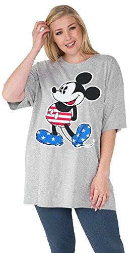 Disney Womens Plus Size T-Shirt Mickey & Minnie Mouse Print 100% Cotton