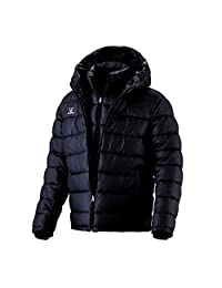 Fuerza Mens Winter Down Wellon Hooded Double Layer Parka Jacket - Black - Medium