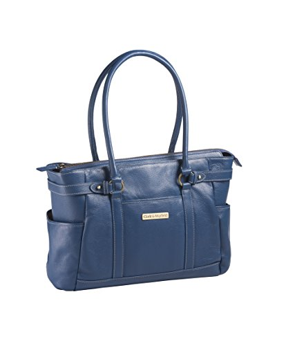 Hawthorne Leather Laptop Handbag 17.3'' (Navy Blue) by Clark & Mayfield