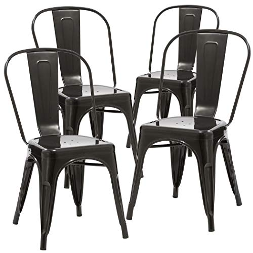 Duhome 4 PCS Stackable Metal Dining Chair Restaurant Cafe Kitchen Indoor Outdoor NO Assembly Require (Black)
