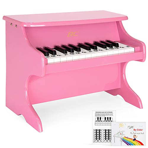 - Best Choice Products Kids Toddler Educational Learn-to-Play Mini Piano Musical Instrument Keyboard Toy w/ Key Note Stickers, Music Book, 25 Full Size Keys - Pink