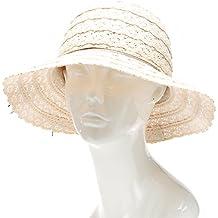 MIRMARU Women's Summer Crushable Vented Mid Brim Beach Fedora Hat With Cord Tie.