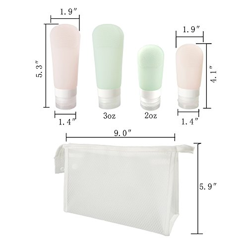 Silicone Travel Bottles Portable Soft Set 4 Pack Leak Proof Cosmetic Travel Containers for Liquids with Clear Travel Bag by RIZUIEI (Image #6)