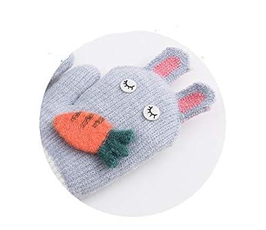 Kid Toddler Gloves on String Girl Boy Hang Neck Mittens Full Finger Winter Gloves Cartoon Animal Cute Carrot Handwear Windproof Knit Warm Wrist Wear Outdoor Thick Skiing Hand Warmer Children 2-5Y Gift