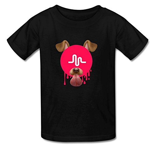 Dog Little Tshirt Girl (Mumogu Little Boys Girls Cotton Melting Funny Cute Dog Music Crew Neck T-Shirt For 4-11yr Old S Black)