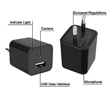 Cámaras Ocultas del Cargador, USB de la Pared, 1080P HD, Mini Cámaras Espía Adaptador, Portátil Kleine Cámara Vigilancia, USB Cámara Detector de Movimiento: ...