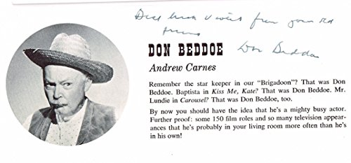 DON BEDDOE wonderful 1950's signed program photo BLOWOUT!