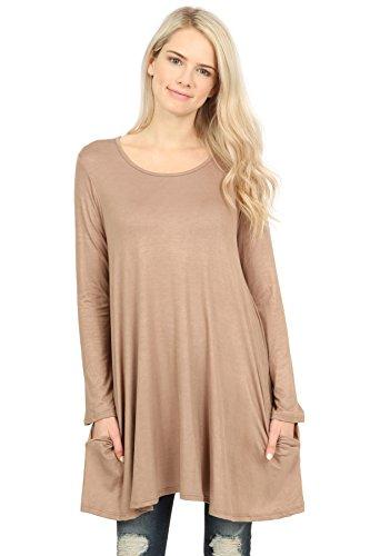 dca8bfd363 Riah Fashion Women s Long Sleeved Pocket Tunic Top
