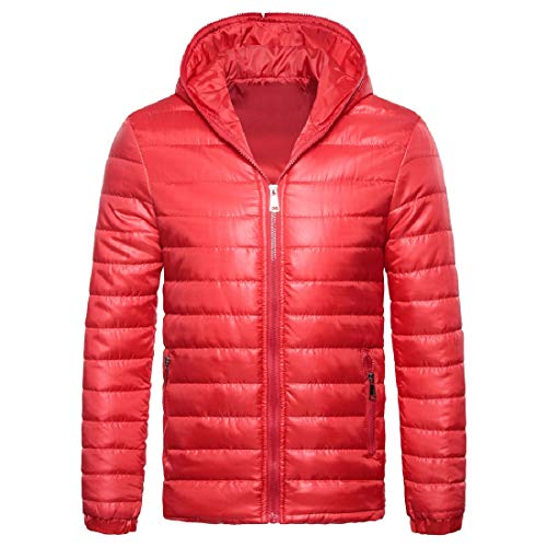 Light Pure Color Men Jacket Red Zip Winter Puffer Hood Howme Weight Fall twYTA