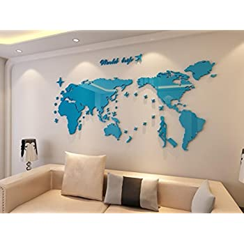 Amazon wall decals giant world map stickers for room decor plastic the world trip map wall stickerswall decalswall tattooswall transfers 31h x 58w inches blue gumiabroncs Image collections