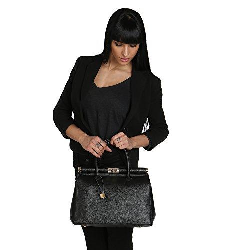 Italy 35x28x16 Negro en de con in Borse Hombro Mujer Chicca Cuero Correa Made Cm Genuino Bolso xfCpn7