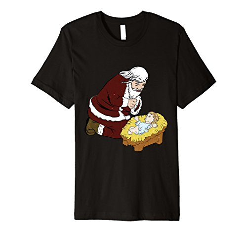 Mens Kneeling Santa Claus With Baby Jesus T-Shirt Christmas Gift XL Black