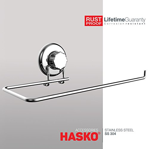 HASKO Accessories - Suction Cup Paper Towel Holder- Chrome Plated Stainless Steel Bar for Bathroom & Kitchen (Cup Kitchen Towel)