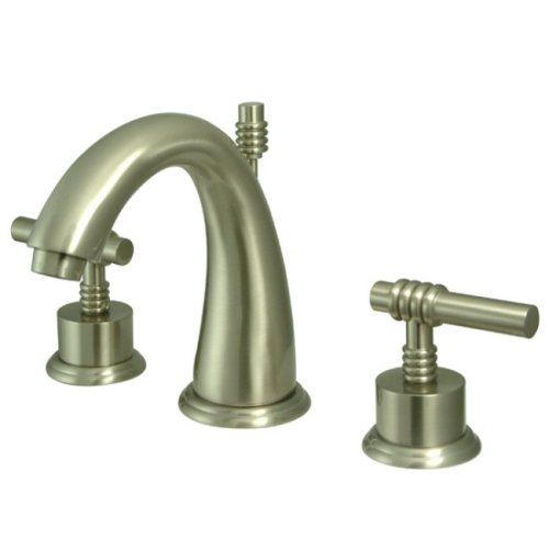 Kingston Brass KS2968ML Milano Widespread Lavatory Faucet with Metal lever handle, Brushed Nickel