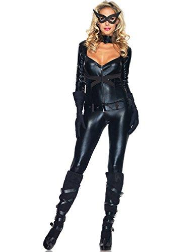 Leg Avenue Women's 4 Piece Cat Girl Jumpsuit Costume, Black, (Black Cat Superhero)