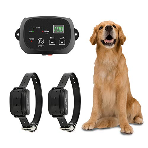 (TTPet Electric Dog Fence,In-ground/Aboveground Pet Containment System, IP66 Waterproof&Rechargeable Collar,Shock&Tone Correction,Support 2 Dogs)