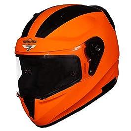 Steelbird SA-1 7Wings Aeronautics Full Face Helmet (X-Large 620 MM, Glossy Fluo Orange with Clear Visor)