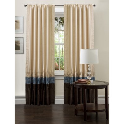 Lush Decor Mia Drapery, Set of 2, Ivory/Blue/Chocolate