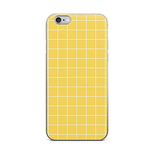 iPhone 6 Plus/6s Plus Pure Clear Case Cases Cover White Grid On Mustard Yellow ()
